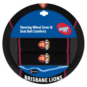 Brisbane Lions Steering Wheel Cover & Seat Belt Comforts Set