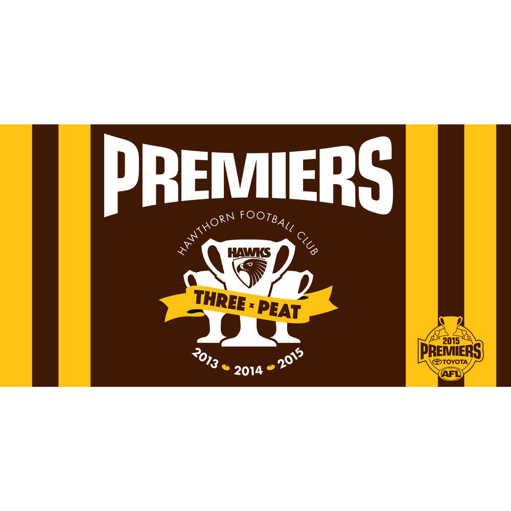 Hawthorn Hawks 2015 Three Peat Premiership Flag Pole Flag