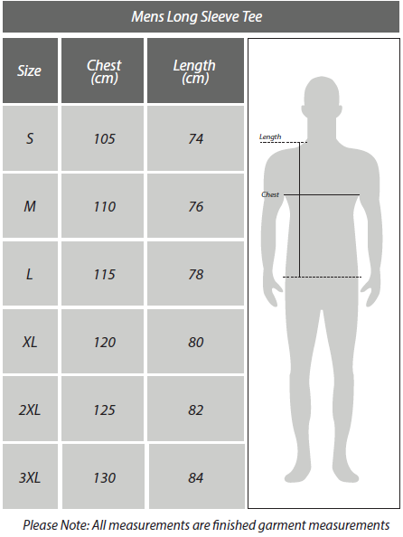 Mens LS Tee Size Chart