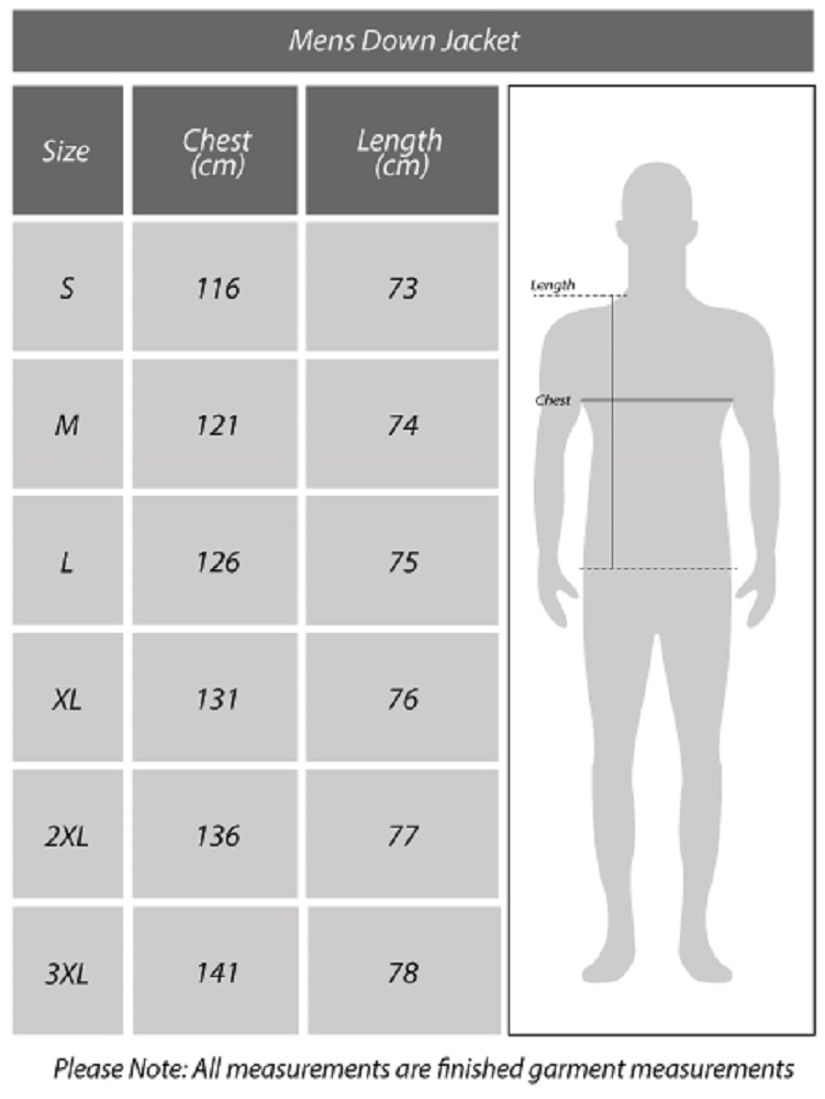 Mens Down Jacket Size Chart
