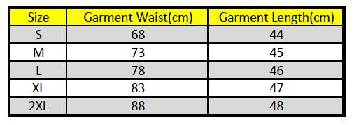Boxer Shorts Size Chart