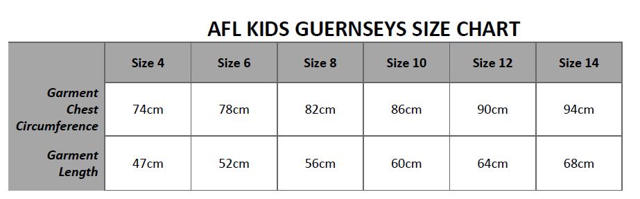Kids Guernsey Size Chart