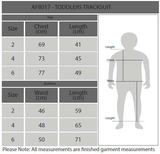 Toddlers Tracksuit Size Chart
