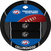 Collingwood Magpies Steering Wheel Cover & Seat Belt Comforts Set