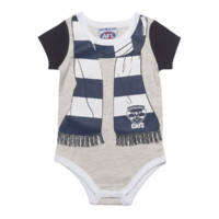 Geelong Cats Scarf Print Baby Bodysuit