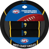 West Coast Eagles Steering Wheel Cover & Seat Belt Comforts Set