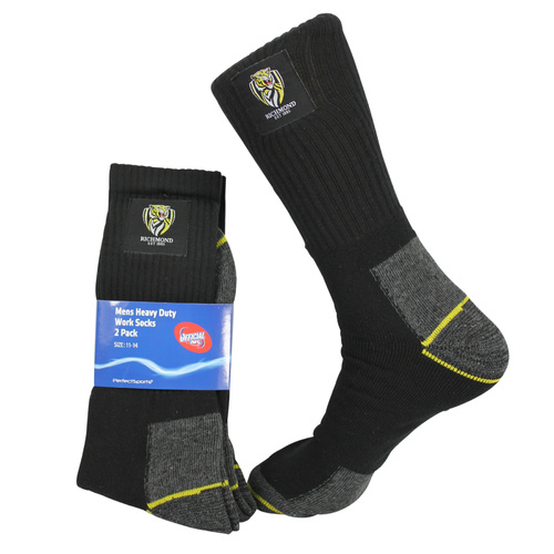 Richmond Tigers Mens Work Socks Pack of 2