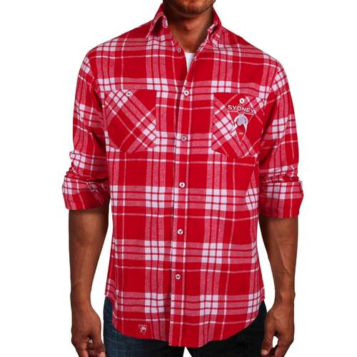 Sydney Swans Adults Flannel Shirt Size:S